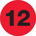"""1"""" Circle - """"12"""" (Fluorescent Red) Inventory Number Labels"""