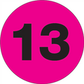 """1"""" Circle - """"13"""" (Fluorescent Pink) Inventory Number Labels"""