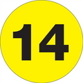 "1"" Circle - ""14"" (Fluorescent Yellow) Inventory Number Labels"