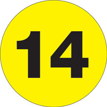 """1"""" Circle - """"14"""" (Fluorescent Yellow) Inventory Number Labels"""