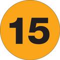 "1"" Circle - ""15"" (Fluorescent Orange) Inventory Number Labels"