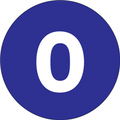 "2"" Circle - ""0"" (Dark Blue) Inventory Number Labels"