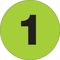 """2"""" Circle - """"1"""" (Fluorescent Green) Inventory Number Labels"""