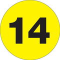 "2"" Circle - ""14"" (Fluorescent Yellow) Inventory Number Labels"