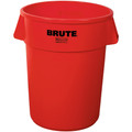 "Rubbermaid® Brute® Trash Can - 55 Gallon, Red 33"" x 26"""