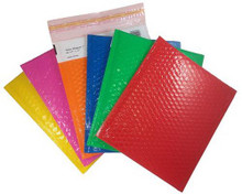 Shiny Shippers Self Seal Bubble Mailers. Blue, Green, Lipstick Pink, Orange, Red, & Yellow Color Envelopes.