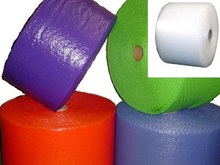 "3/16"" Small Bubble Wrap® Perforated every 12"". Available in Blue, Lime Green, Purple, Red, and Clear."