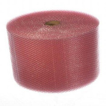 "3/16"" Small Anti-Static Pink Bubble Cushioning Wrap Perforated every 12""."
