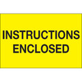 """Instructions Enclosed"" Fluorescent Yellow Shipping and Handling Labels"