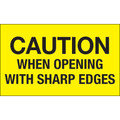 """""""Caution When Opening With Sharp Edges"""" (Fluorescent Yellow) Shipping and Handling Labels"""