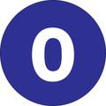 "1"" Circle - ""0"" (Dark Blue) Inventory Number Labels"