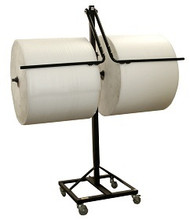 """12"""" Double Arm Floor Unit with Tear Tag, Brake System, and Telescoping for Packaging Material Rolls"""