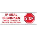 "Pre-Printed Carton Sealing Tape - ""Stop If Seal Is Broken..."""