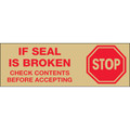 "Pre-Printed Carton Sealing Tape with Tan Back Ground - ""Stop If Seal Is Broken..."""