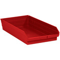 "23 5/8"" x 11 1/8"" x 4"" Red Plastic Shelf Bin Boxes"