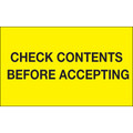 """Check Contents Before Accepting"" (Fluorescent Yellow) Labels"