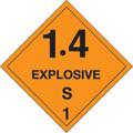 """4"""" x 4"""" - """"1.4 - Explosive - S 1"""" D.O.T. Hazard Labels"""