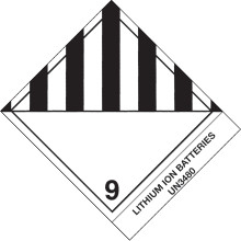 """""""Lithium Ion Batteries"""" Pre-Printed D.O.T Labels"""
