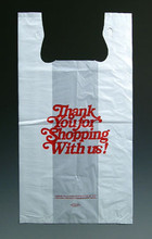 "White Plastic Merchandise T-Shirt Bags with ""Thank You"" Message"