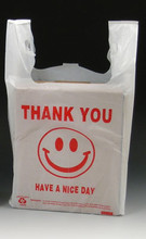 "White Plastic Merchandise T-Shirt Bags with ""Smiley Face"" Print Message"