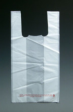 """18"""" x 10"""" x 30"""" White High Density T-Shirt Bags .65 mil"""