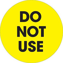 """2"""" Circle - """"Do Not Use"""" Fluorescent Yellow Pre-Printed Inventory Control Labels"""