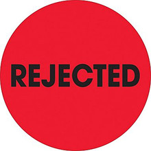 """2"""" Circle - """"Rejected"""" Fluorescent Red Pre-Printed Inventory Control Labels"""