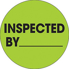 """2"""" Circle - """"Inspected By"""" Fluorescent Green Pre-Printed Inventory Control Labels"""