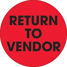 "2"" Circle - ""Return To Vendor"" Fluorescent Red Pre-Printed Inventory Control Labels"