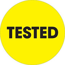 "2"" Circle - ""Tested"" Fluorescent Yellow Pre-Printed Inventory Control Labels"