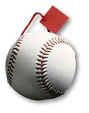 "6"" x 7"" x 3 3/8"" Baseball Small Die Cut Gift Bag"
