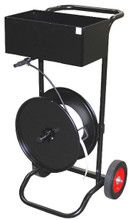 This Strapping Cart dispenses Oscillated Wound Strapping for use in load securing.