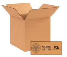 """12"""" x 12"""" x 12"""" (V3c - 350#) Single Wall Weather-Resistant Corrugated Cardboard Shipping Boxes"""