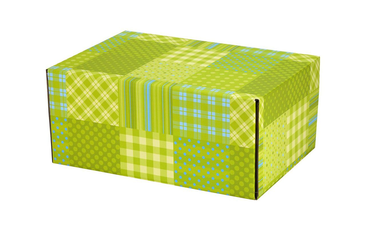 48 Patchwork Green Self Seal Decorative Shipping Boxes 17 5 8 X 12 1 4 X 3