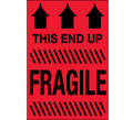 """""""This End Up - Fragile"""" (Fluorescent Red) Shipping and Handling Labels"""