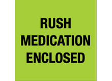 """""""Rush - Medication Enclosed"""" (Fluorescent Green) Labels Shipping and Handling Labels"""