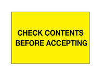 """Check Contents Before Accepting"""" (Fluorescent Yellow) Labels Shipping and Handling Labels"""