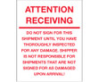 """Attention Receiving - Do Not Sign For This Shipment"" (Fluorescent Green) Labels Shipping and Handling Labels"