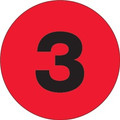 """3"""" Circle - """"3"""" (Fluorescent Red) Inventory Number Labels"""