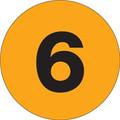 "3"" Circle - ""6"" (Fluorescent Orange) Inventory Number Labels"
