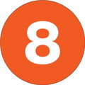 "3"" Circle - ""8"" (Orange) Inventory Number Labels"
