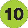 """3"""" Circle - """"10"""" (Fluorescent Green) Inventory Number Labels"""