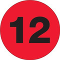 "3"" Circle - ""12"" (Fluorescent Red) Inventory Number Labels"