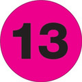 "3"" Circle - ""13"" (Fluorescent Pink) Inventory Number Labels"