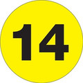 "3"" Circle - ""14"" (Fluorescent Yellow) Inventory Number Labels"