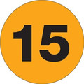 "3"" Circle - ""15"" (Fluorescent Orange) Inventory Number Labels"