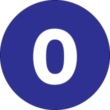 "4"" Circle - ""0"" (Dark Blue) Inventory Number Labels"