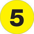 "4"" Circle - ""5"" (Fluorescent Yellow) Inventory Number Labels"
