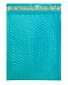 "Size #2 8.5""x11"" Teal Color Poly Bubble Mailers with Peel-N-Seal"