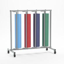 Vertical Paper Roll Rack Storage Dispenser and Cutter - Holds 4 rolls - Bulletin Board Paper Holder
